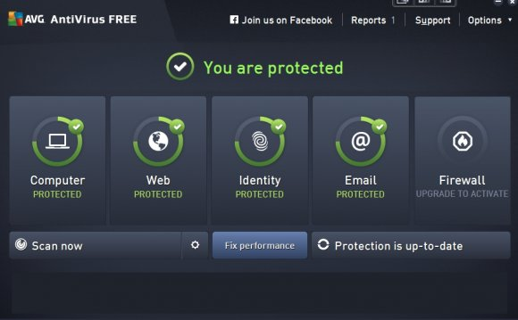 AVG s main menu shows you your