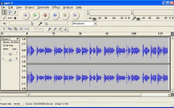The Audacity sound editor GUI
